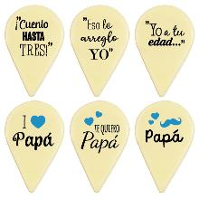 FRASE PAPÁ 36 X 23 MM CHOCOLATE BLANCO 135 UNIDADES